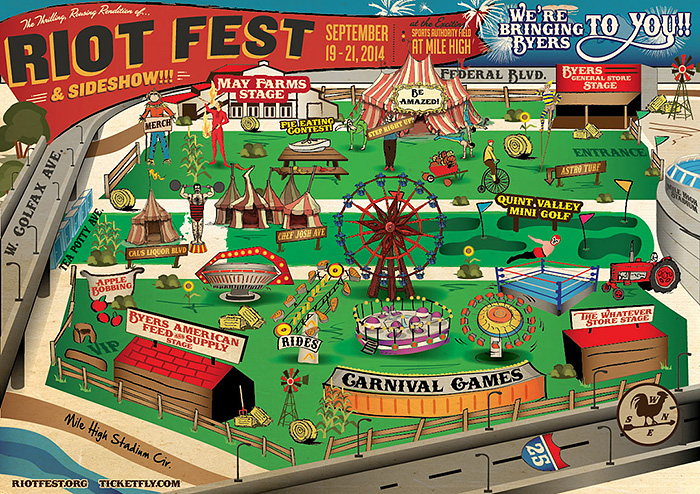 Map of Riot Fest Denver 2014