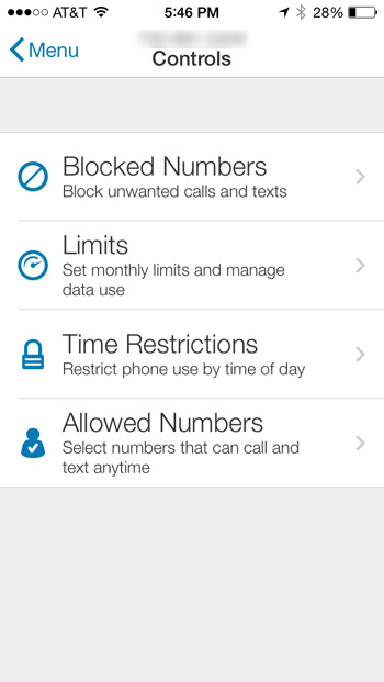 AT&T Smart Limits - Controls Screen