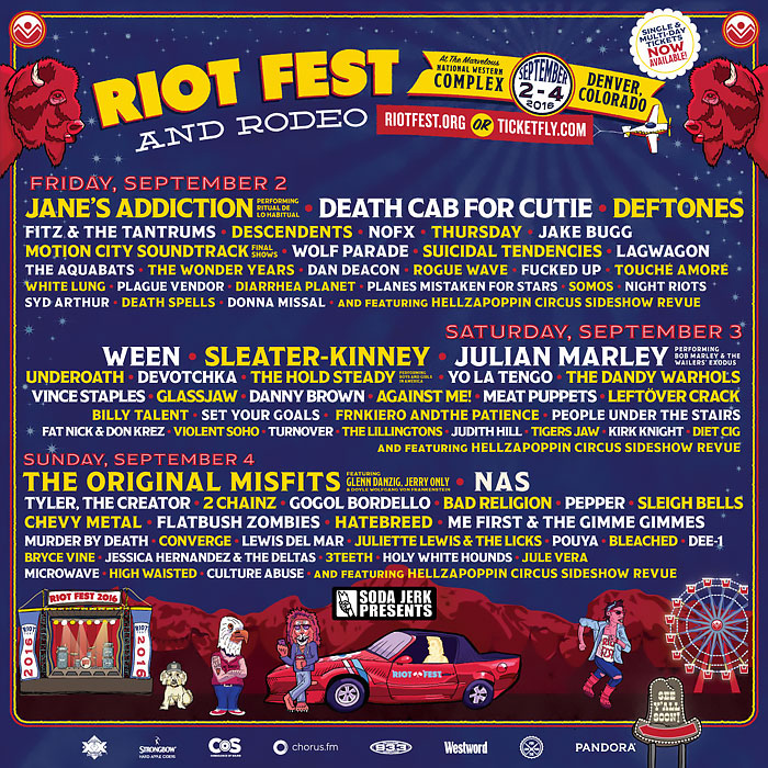 Riot Fest Denver 2016 Schedule. Multi-day music festival specializing in punk, rock, alternative, metal, and hip-hop.