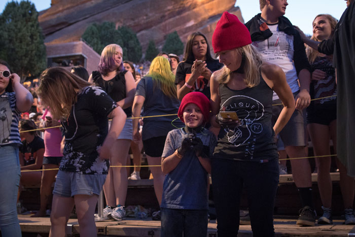 A family of Twenty One Pilots fans at their 2016 Red Rocks concert