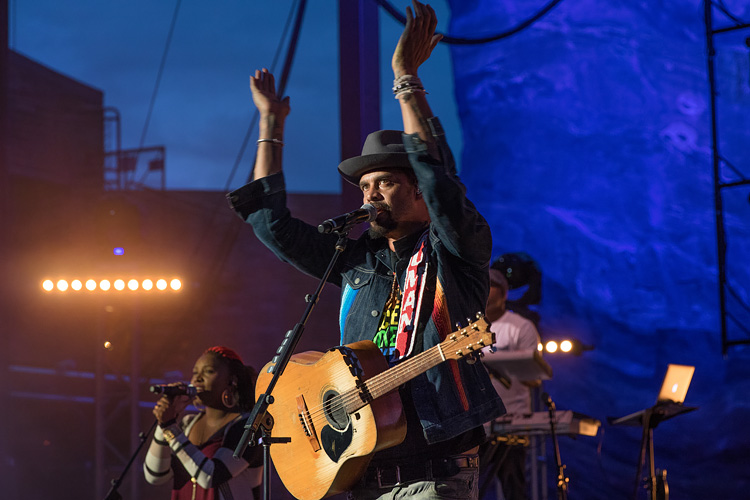 Michael Franti & Spearhead perform with Zella Day at Red Rocks in the summer of 2016.