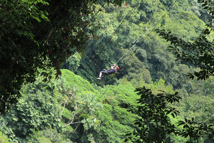 Zipline in Costa Rica to get to River Drift
