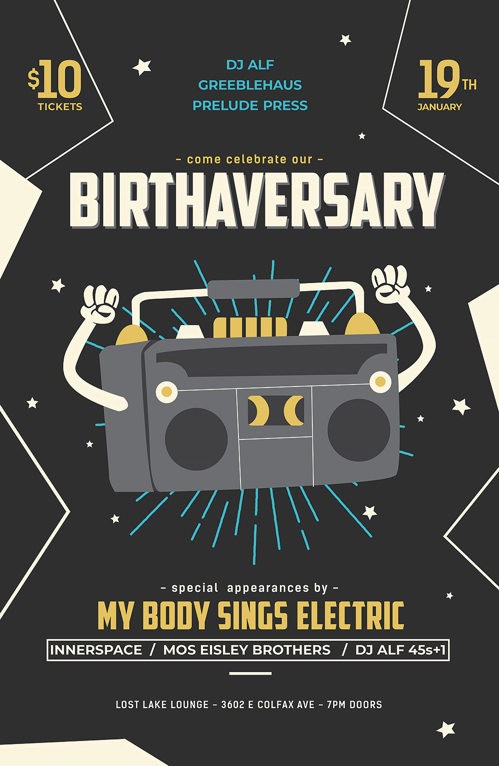 Greeblehaus Birthaversary with My Body Sings Electric