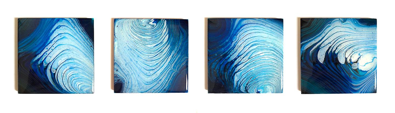 Blue Coasters Poured Acrylic