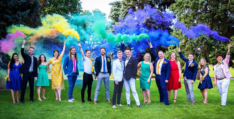 Denver Wedding Portraits - LGBT - Rainbow Smoke