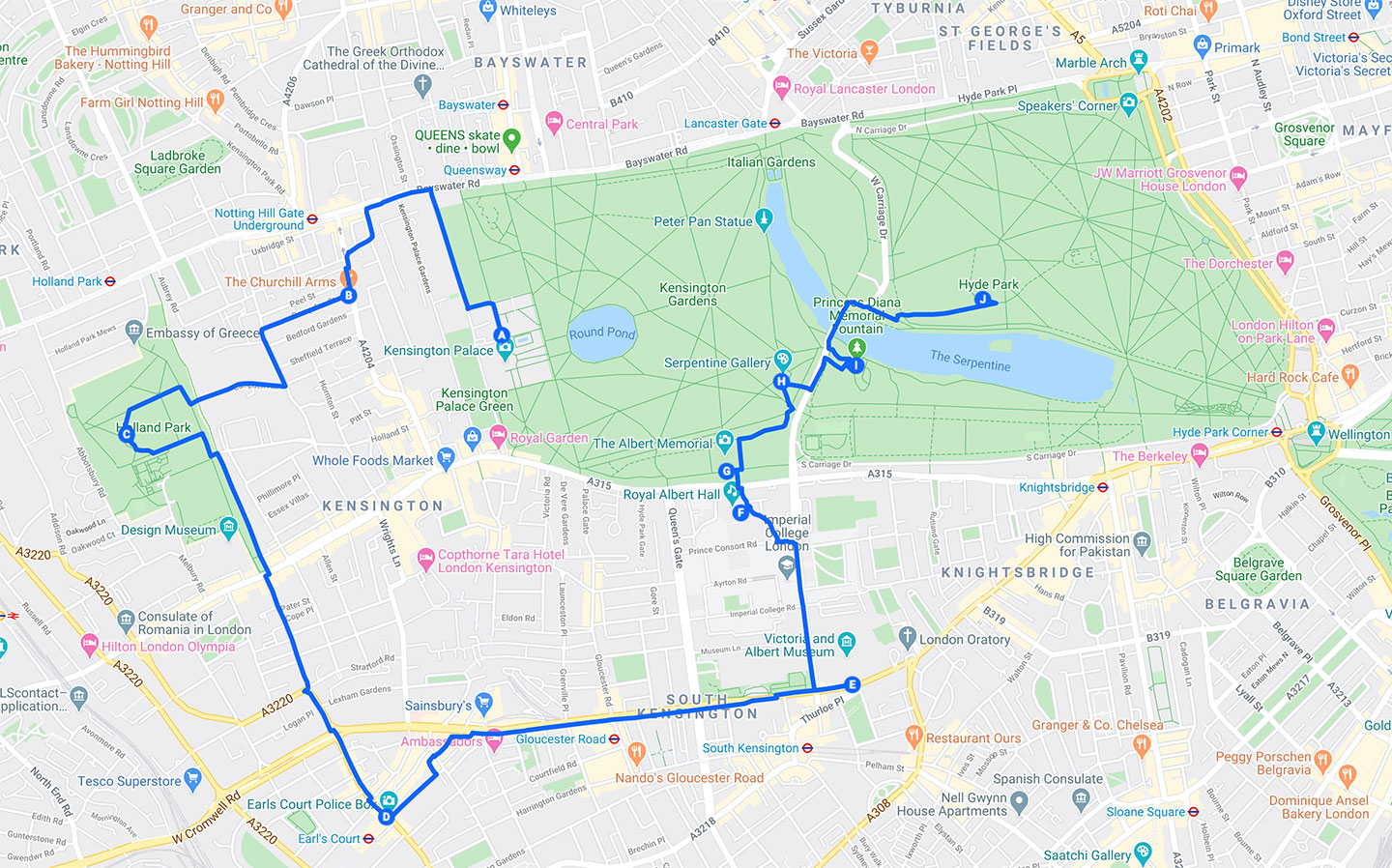 Best Things To Do in London By Neighborhood - Kensington - Walking Map