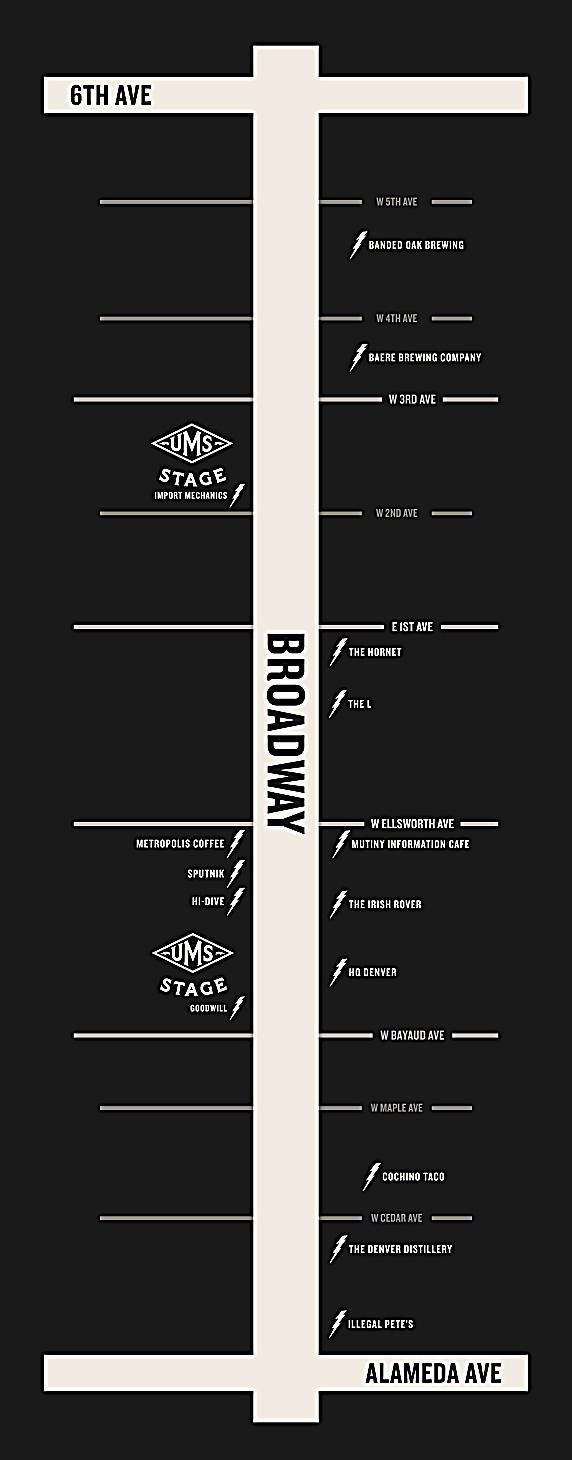 UMS Underground Music Showcase 2021 Denver - Map of Venues